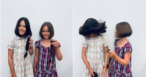 Sesės ilgus plaukus padovanojo vardan sergančių vaikų (nuotr. facebook.com)