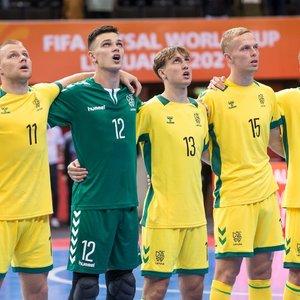 Apmaudus startas: Lietuvos salės futbolininkai rungtynių pabaigoje paleido lygiąsias