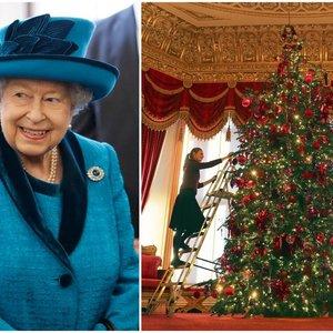 Įspūdinga karalienės kalėdinė eglė – jau papuošta: tam prireikė net kopėčių