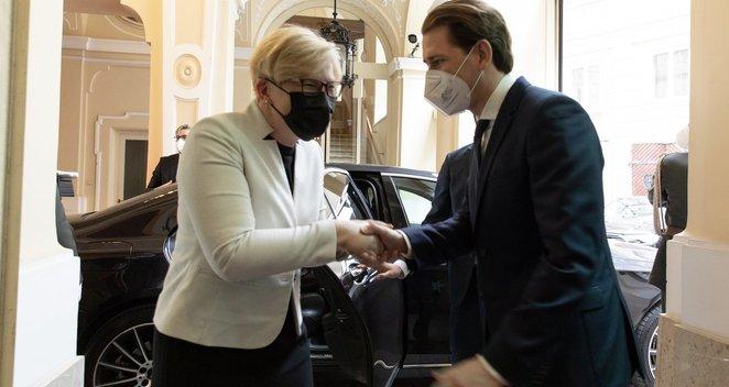 Premjerė I. Šimonytė susitiko su Austrijos Respublikos Kancleriu S. Kurzu