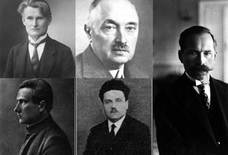 Prezidentas Kazys Grinius, ministras pirmininkas Mykolas Sleževičius, prezidentas Antanas Smetona, broliai Vailokaičiai Juozas ir Jonas (tv3.lt fotomontažas)