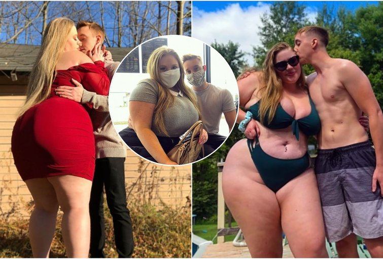 Meilei nesvarbus nei amžius, nei tautybė, nei išvaizda. Tai įrodė 23-ejų Brittany ir jos bendraamžis mylimasis Mattas, kuris, beje, sveria perpus mažiau nei jo simpatija (nuotr. Instagram)