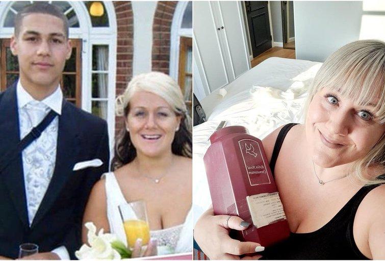 Moteris nešiojasi prieš 7 metus mirusio sūnaus pelenus (nuotr. facebook.com)