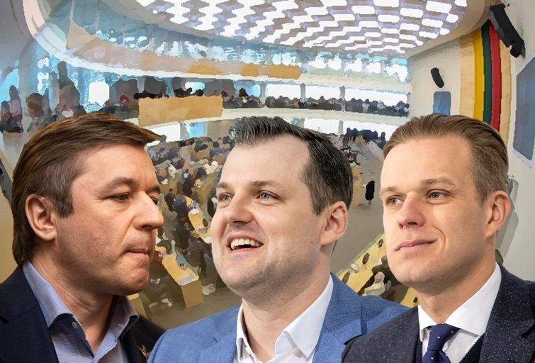 Ramūnas Karbauskis, Gintautas Paluckas, Gabrielius Landsbergis (tv3.lt fotomontažas)