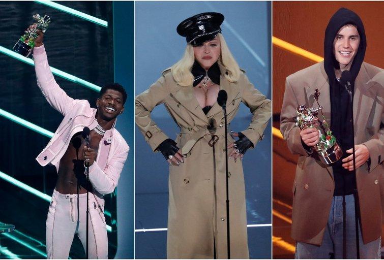 Lil Nas X, Madonna, Justinas Bieberis (nuotr. SCANPIX) tv3.lt fotomontažas