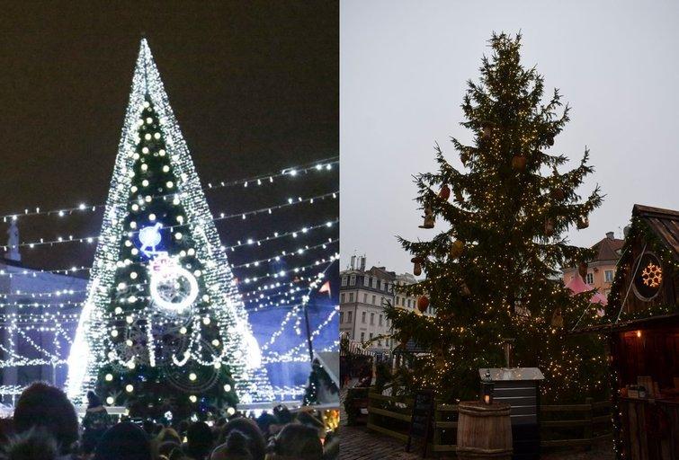 Vilniaus (kairėje) ir Rygos kalėdinės eglės (nuotr. tv3.lt)