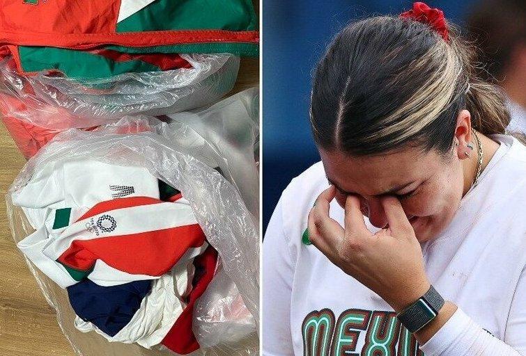 Skandalas olimpiadoje: Meksikos rinktinės žaidėjos savo aprangas išmetė į šiukšliadėžę. (nuotr. SCANPIX)