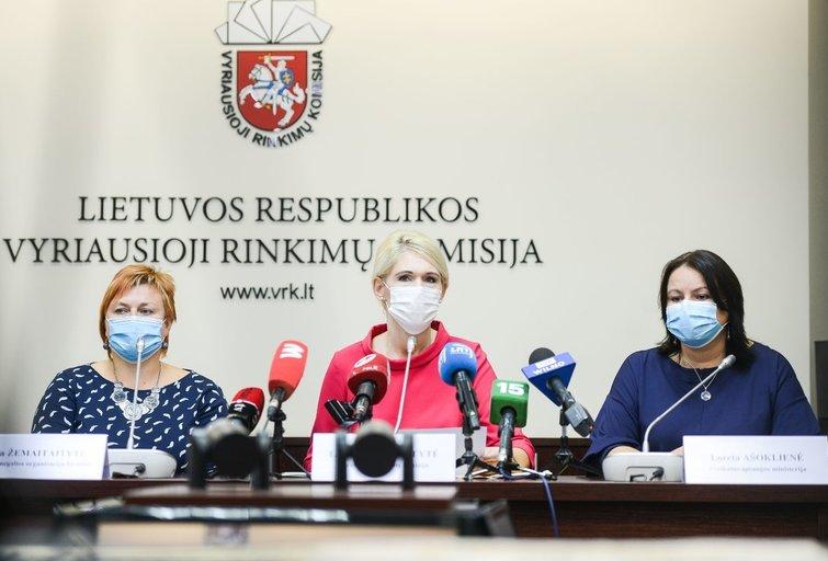 VRK apie 2020 metų Seimo rinkimus, Ginta Žemaitaitytė, Laura Matjošaitytė ir Loreta Ašoklienė (nuotr. Fotodiena/Justino Auškelio)