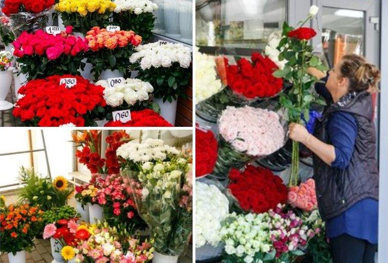 Gėlių pasirinkimas Vilniaus turgelyje (nuotr. Tv3.lt/Ruslano Kondratjevo)
