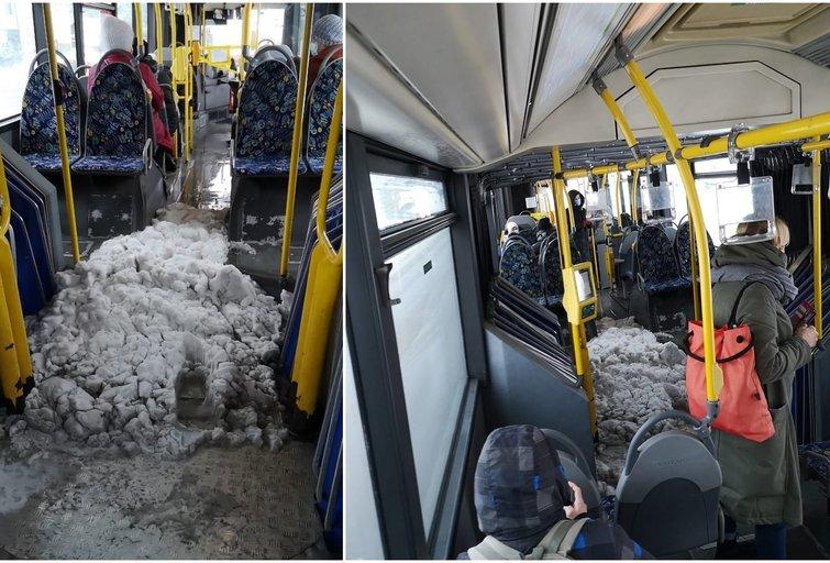 Sniegas autobuse (nuotr. skaitytojo)