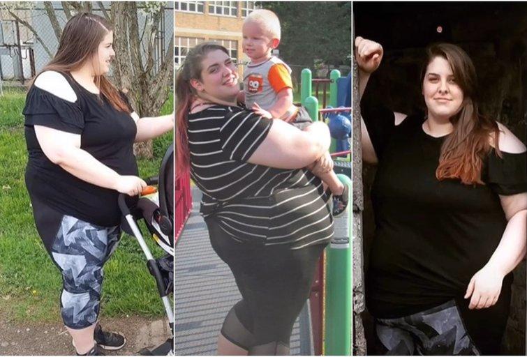 """Jess Walsh, kai svėrė 186 kg (nuotr. stop kadras/""""Tik Tok"""")"""