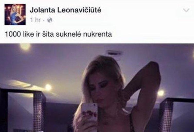 """Apsimetėlis Jolantos Leonavičiūtės vardu pelnosi už """"jos"""" lytinių lūpų nuotrauką (nuotr. asmeninio albumo (""""Facebook"""")"""