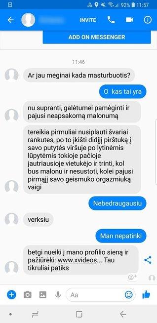 Pedofilo žinutės Feisbuke (Facebook.com)
