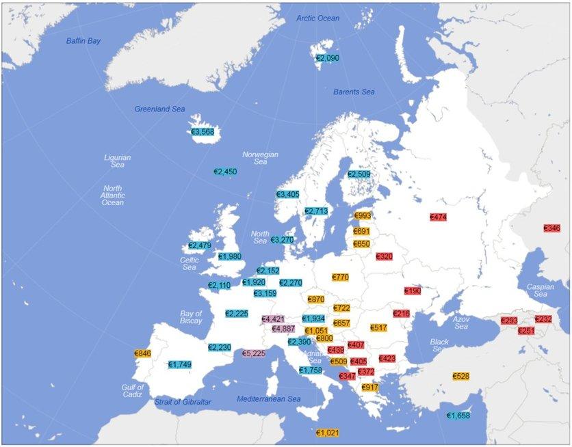 """Vidutiniai atlyginimai """"į rankas"""" Europoje (Wikipedia.com nuotr.)"""