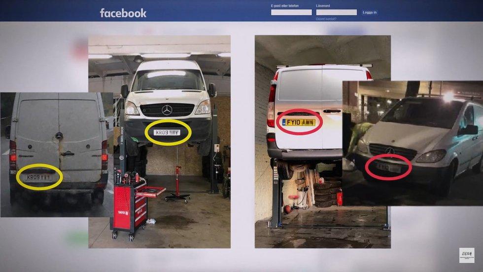 """u Aivaro autoservise remontuoti mikroautobusai buvo pastebėti tuštinantys Švedijos labdaros organizacijos tekstilės kontenerius (nuotr. """"Siena"""")"""