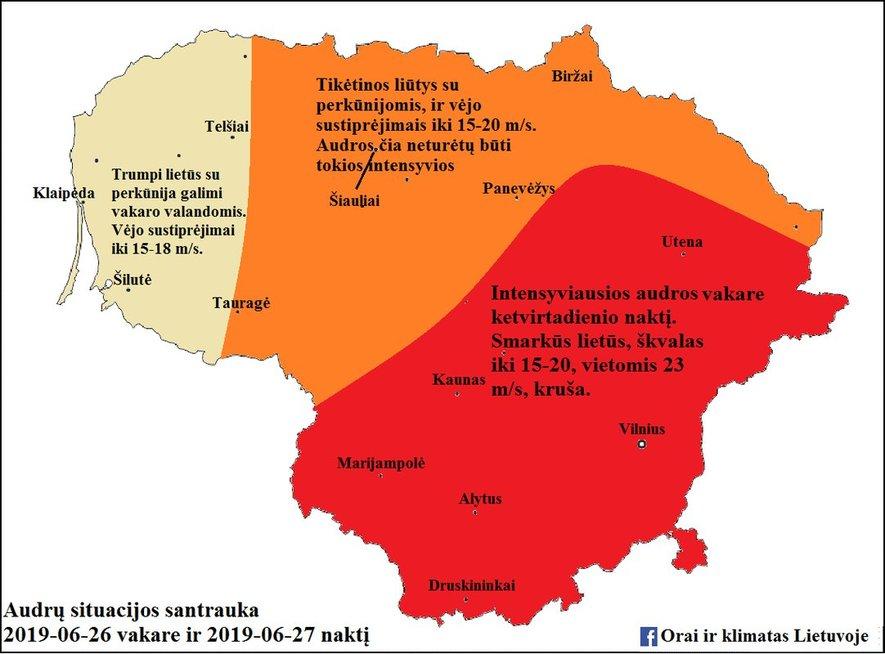 Lietuvoje numatomos audros