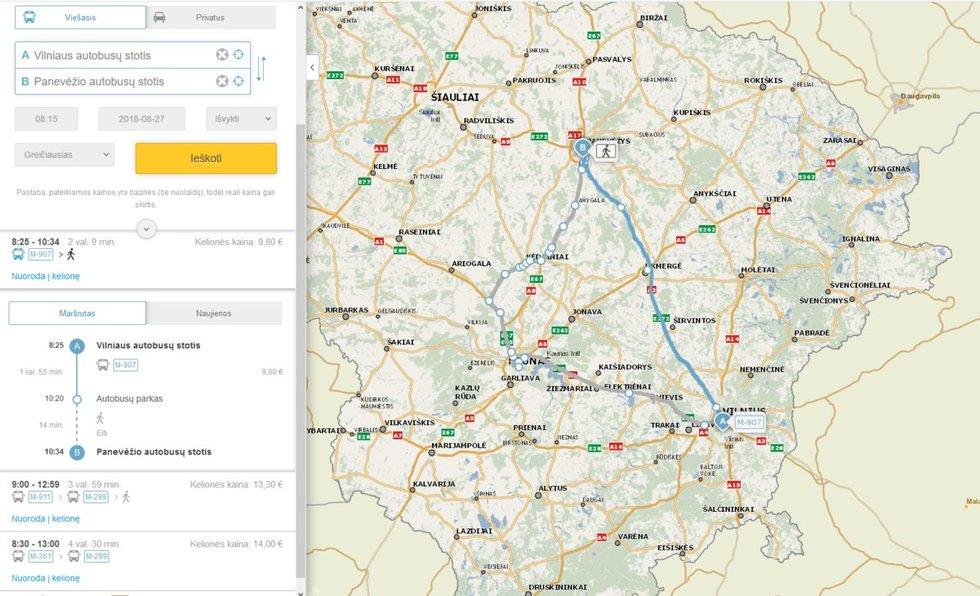 """,,Vintroje"""" kaupiami visų viešojo transporto rūšių Lietuvoje duomenys, todėl keliautojui ši sistema pasiūlys greičiausią, ekonomiškiausią ar trumpiausią maršrutą."""