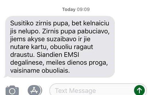 EMSI sveikinimo žinutė