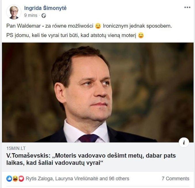 I. Šimonytės komentaras (nuotr. facebook.com)