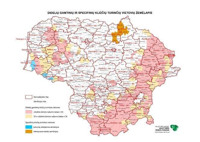 Didelių gamtinių ir specifinių kliūčių turinčių vietovių žemėlapis (ŽŪM)