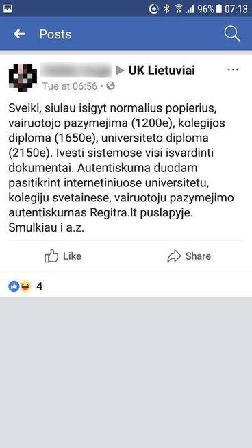 Skelbimas (Facebook.com nuotr.)