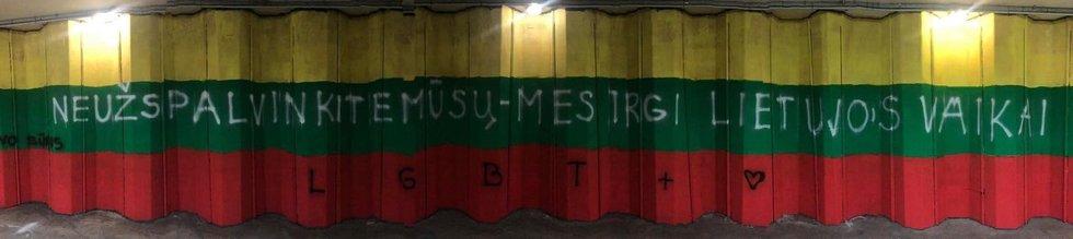Požeminėje perėjoje Vilniuje LGBT vėliava buvo uždažyta trispalve