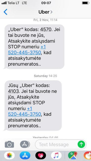 Įtartinos Uber žinutės (nuotr. tv3.lt)