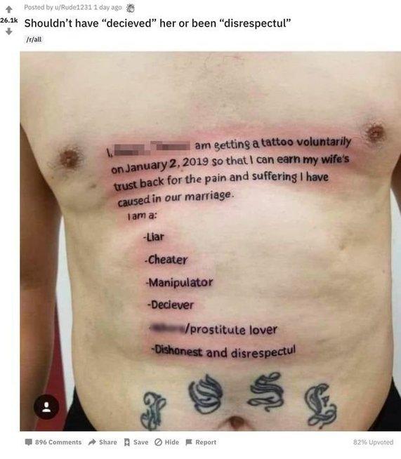 Žmona neištikimam vyrui liepė pasidaryti tatuiruotę (Nuotr. Reddit)