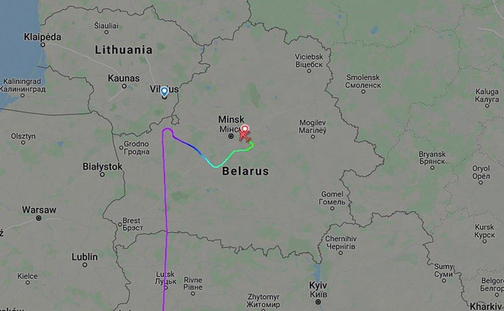 Baltarusijos užgrobto orlaivio skrydžio trajektorija