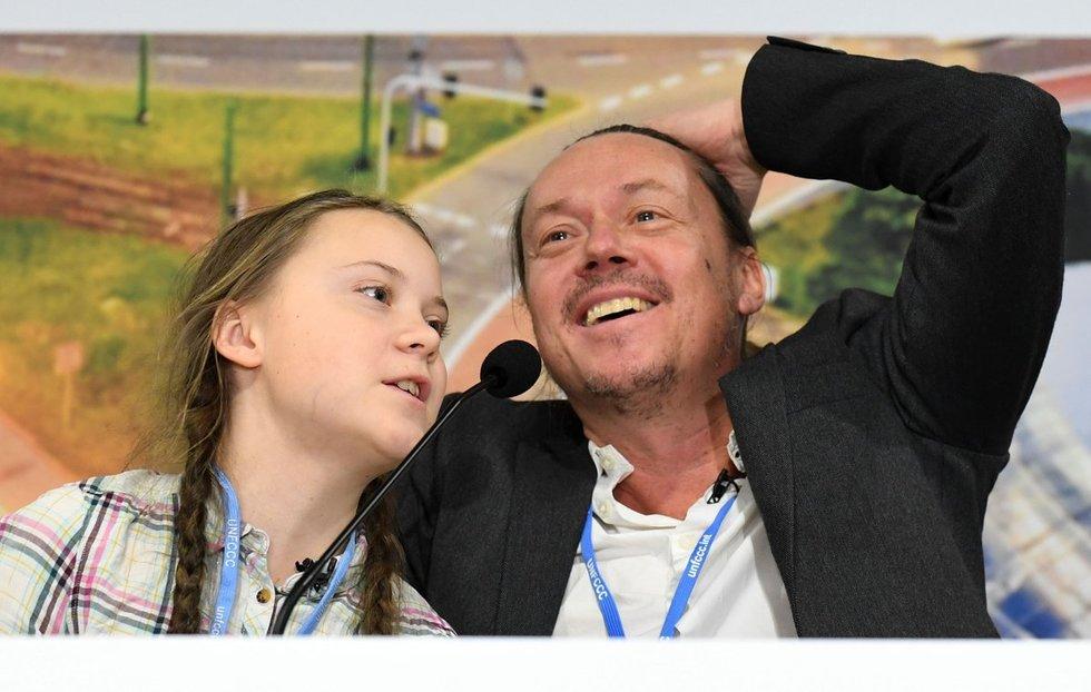 Greta Thunberg su tėčiu