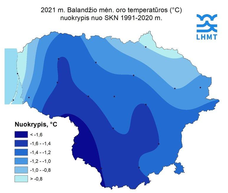 2021 metų balandžio oro temperatūros nuokrypis nuo 1991–2020 metų vidurkio