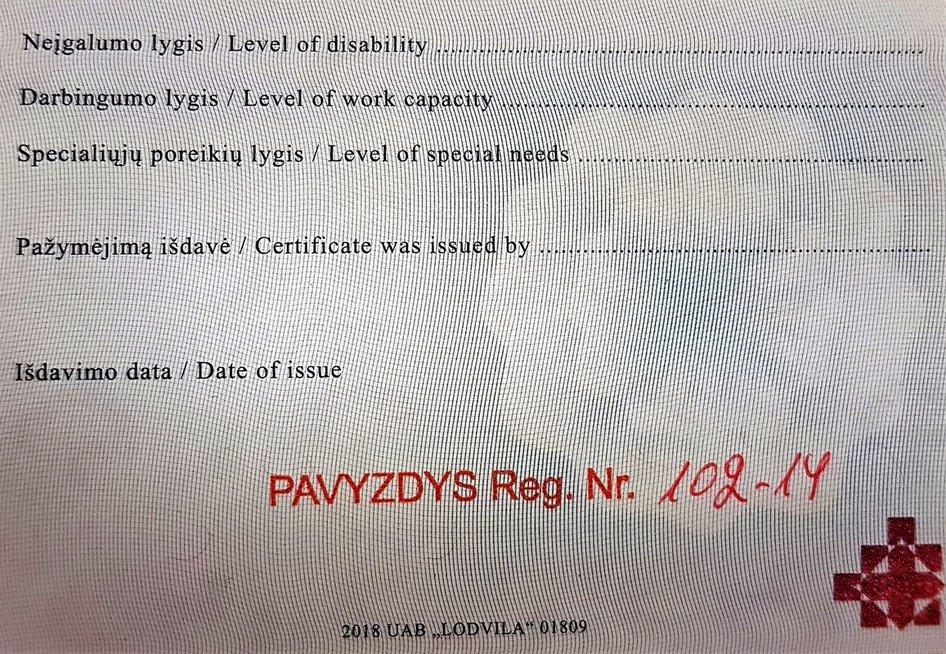 Naujasis neįgaliojo pažymėjimas.