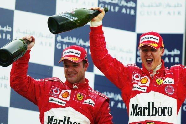 Rubensas Barrichello ir Michaelis Schumacheris (nuotr. asm. archyvo)