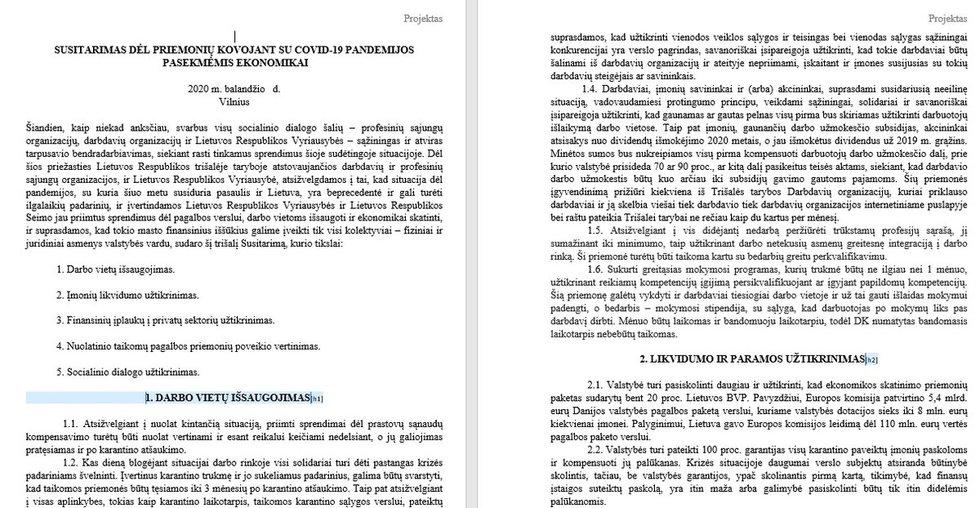 Trišalės tarybos susitarimo projektas