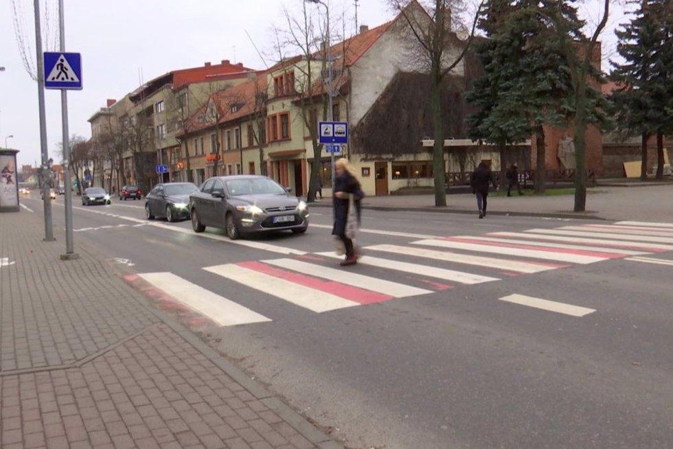 Perėjų reidas Klaipėdoje (nuotr. stop kadras)