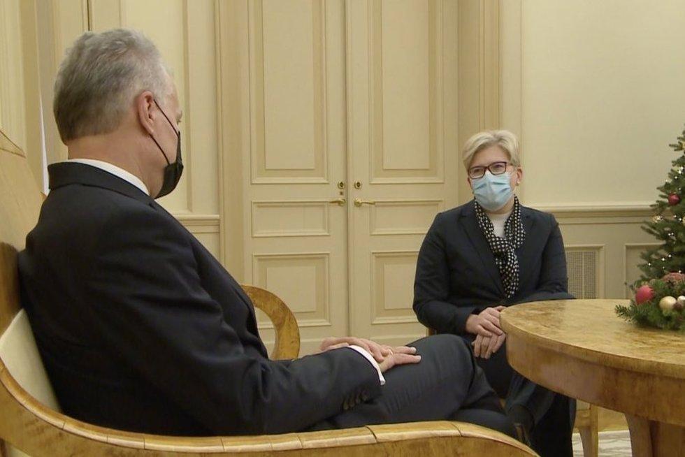 G. Nausėda ir I. Šimonytė (nuotr. stop kadras)