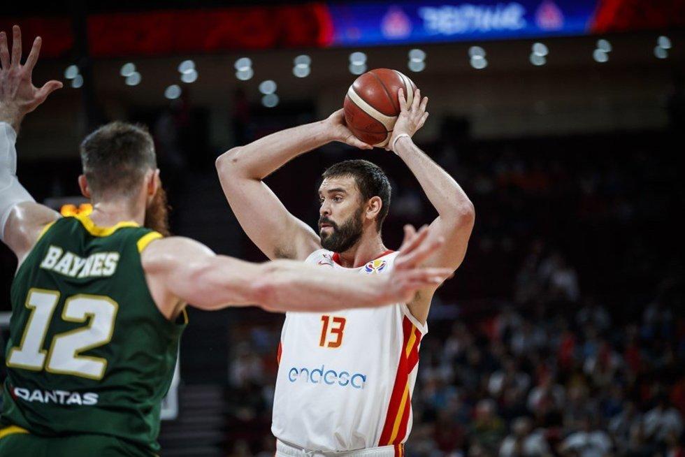 Rungtynių Ispanija-Australija akimirka (nuotr. FIBA)