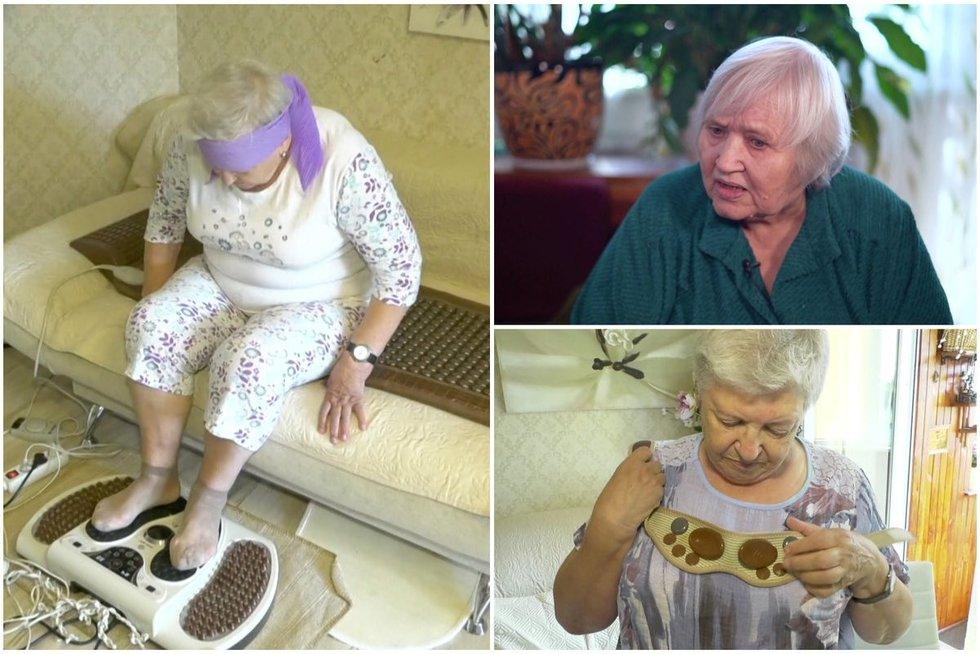 Apgautos pensininkės nebegali tylėti: joms žadėjo, kad masažuokliai ataugins sąnarius (nuotr. stop kadras)