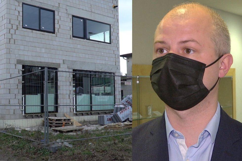 Aiškėja detalės apie Gentvilo namo statybas ir nelaimę, per kurią sužalotas statybininkas (nuotr. stop kadras)
