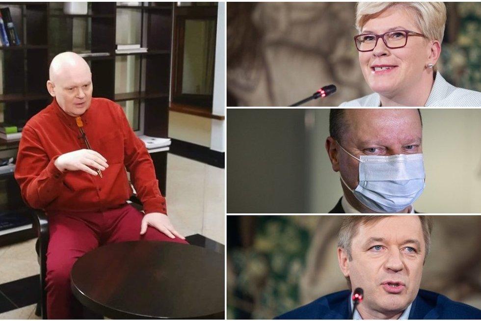 Garsus veidotyrininkas įvertino Šimonytę, Karbauskį, Skvernelį ir kitus: žodžių į vatą nevyniojo (tv3.lt koliažas)