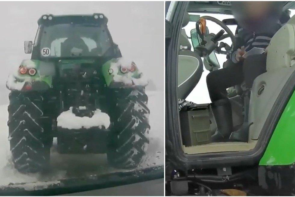 Trajų rajone įkliuvo girtas traktorininkas: stūmė sniegą į kiemus